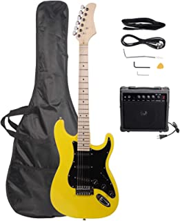 DOLMER ST Stylish Electric Guitar with Black Pickguard Yellow Guitars Case and Accessories Pack Beginner Starter Package M...