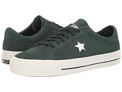 Converse Skate One Star Pro Rubber Backed Suede Ox (Deep Emerald/Egret/Egret) Shoes