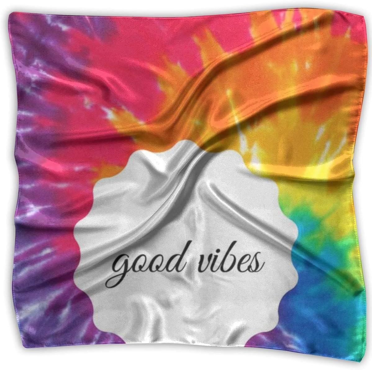 YANGZXC Multi-Color Tie Dye Good Vibes Handkerchief Polyester Pocket Square Mulipurpose Silk Bandanas Delicate Printing