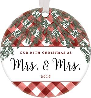 Our 25th Christmas Mrs & Mrs 2019 Ornament Keepsake Lesbian Couple Holiday Gifts Married 25 Years Same Sex Life Partners Celebrating Silver Wedding Anniversary Red Buffalo Plaid 3