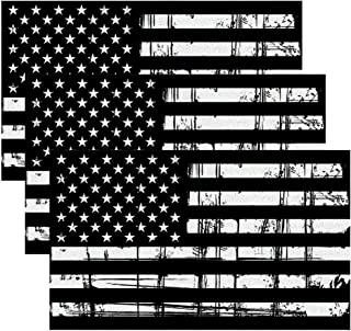 Creatrill Reflective Tattered Subdued American Flags Decal Matte Black – 3 Packs 3x5 in. Tactical Military USA Flag Stickers for Cars and Trucks, Hard Hat or Lunch Box