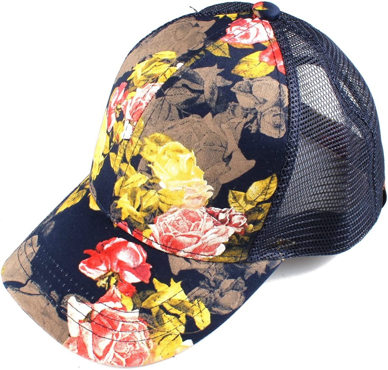 Hatsandscarf C.C Exclusives Flower Patten Mesh Trucker Baseball Cap(BA733) (pinkNavy)