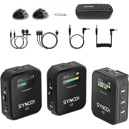 SYNCO-G2(A2)-2.4GHzワイヤレスピンマイクシステム-スマホ外付けマイク-一眼レフマイク 送信機2台・受信機1台 150Hzローカット機能 ステレオ/モノラルモード カメラマイク デジタル一眼レフカメラ、スマホ、ビデオカメラ、タブレットに対応【技適マーク&日本語説明書付属&1
