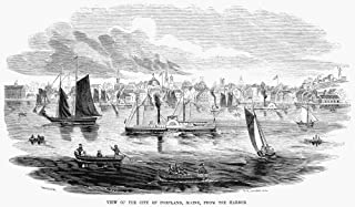 Portland Maine 1853 Na View Of The City Of Portland Maine From The Deepwater Harbor On Casco Bay Wood Engraving American 1853 Poster Print by (18 x 24)