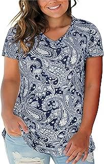 Nemidor Women's V-Neck Print Short Sleeve Casual T Shirt Plus Size Summer Tops