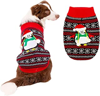 BINGPET Dog Ugly Christmas Sweater Classic Xmas Turtleneck Knitwear Sweater with Penguin Pattern, Pet Holiday Sweater Coat Winter Warm Cloth