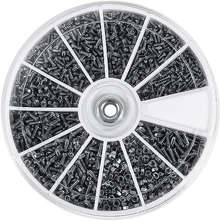 600Pz 12 Tipi di Piccole Viti Bulloni Assortimento in Acciaio Inox per Orologi Bicchieri M1 M1,2 M1,4 M1,6, Filettatura Piena, Finitura Semplice