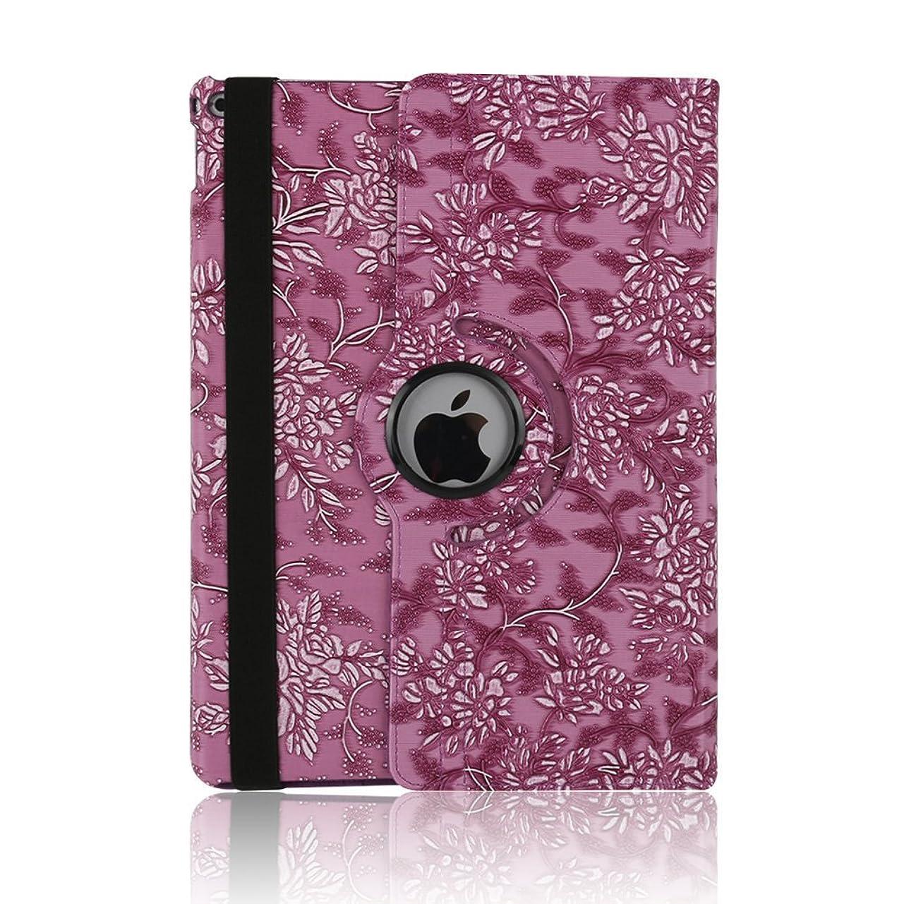 ワイヤー意識絶縁するケース ipad 手帳型、SIMPLE DO 360度回転式 スタンド機能 三つ折り 軽量 持ち運び便利 耐衝撃 レディース 女子 人気 おしゃれ 通勤 iPad Air 2 9.7インチ対応(パープル)