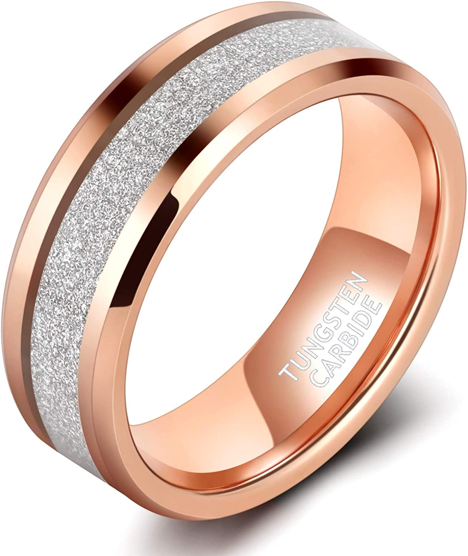 TRUMIUM 8mm Mens Tungsten Wedding Rings Rose Gold/Black/Blue Inlay Wedding Band Sandstone Meteorite Ring Beveled Edge Comfort Fit Size 7-13