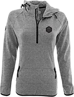 Levelwear LEY9R NHL Nashville Predators Women's Faint Cross Over Quarter Zip Hooded Pullover Mid-Layer Apparel, Small, Heather Pebble