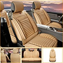 Car Seat Cover for Jaguar F-PACE E-PACE I-PACE F-Type S-Type X-Type Universal Car Seat Protectors 5-Seat Full Set Artificial Leather Waterproof,Easy Install,Beige Standard