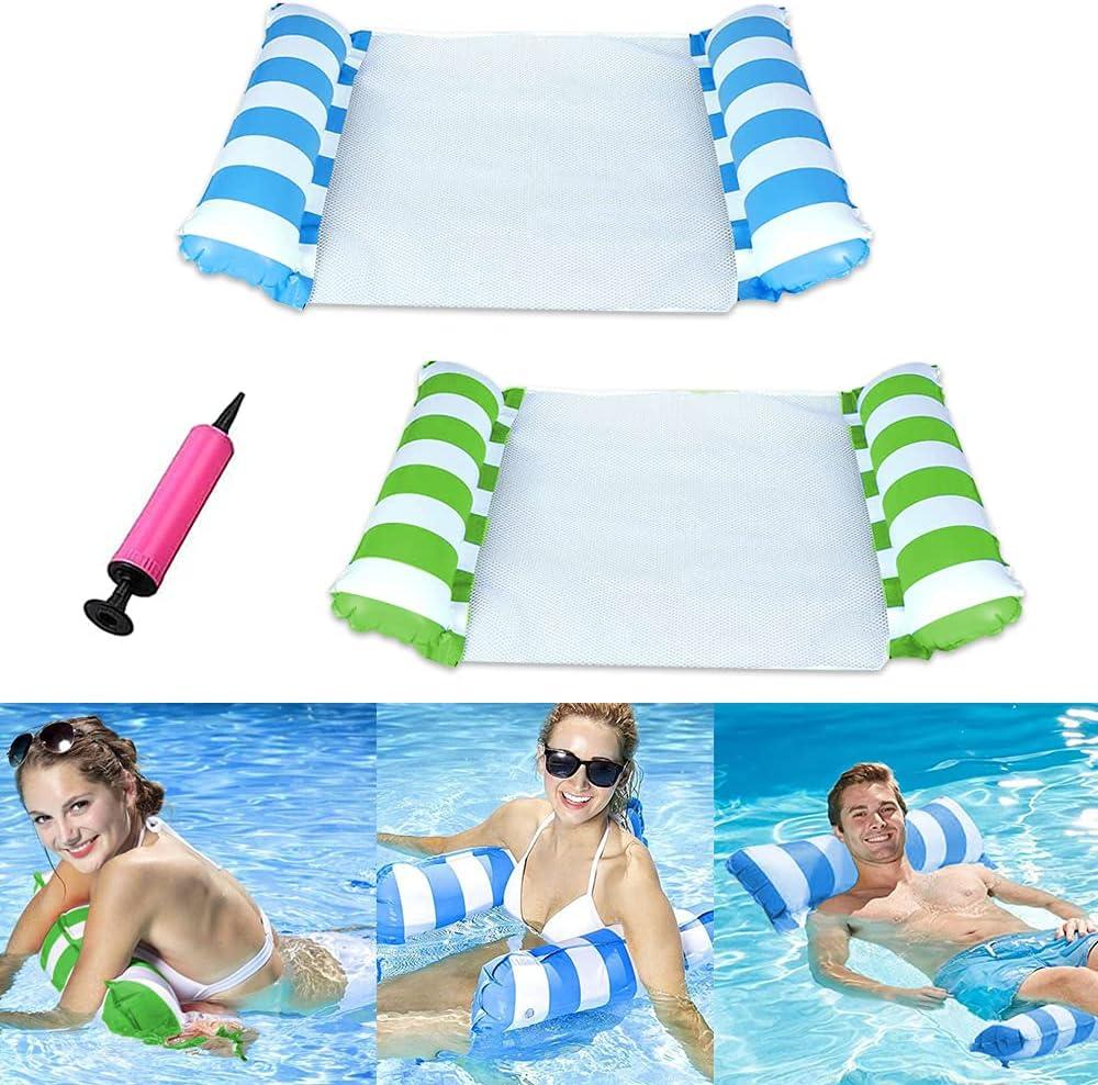 Zueyen Hamaca flotante de piscina de alta calidad, cómoda hamaca, hamaca de agua, hamaca de agua multiusos con bomba de aire manual (azul y verde)