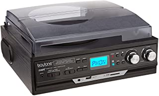 Boytone BT-17DJB 3-speed Stereo Turntable, 2 Built in Speakers Digital LCD Display AM/FM Radio, USB/SD Slot, AUX+ MP3 & WMA Playback /Recorder & Headphone Jack + Remote Control