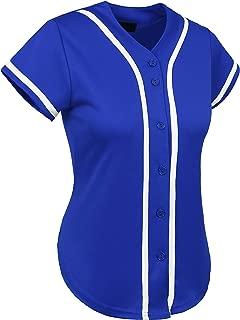 Hat and Beyond Womens Baseball Button Down Tee Short Sleeve Softball Jersey Active T Shirts