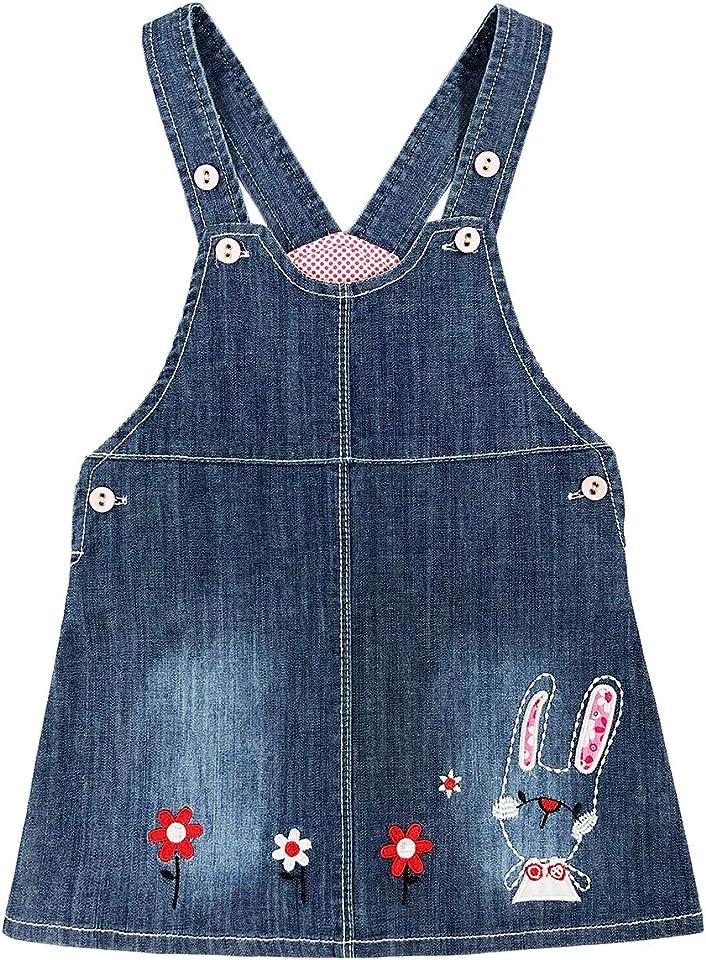 6M-3Y Baby Girl Thin denim strap dress 1pcs Jumpstuis Kids denim skirt(Floret,2-3Y)