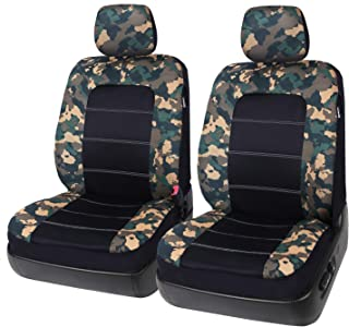 Low Back Camo Front Seat Covers with Headrest Covers for Car and Truck, Fits Most Bucket Seats Airbag Ready - Leader Accessories