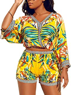 2 Piece Outfits for Women Summer Two Piece Crop Top Shorts Set Boho Floral Print Romper Jumpsuit