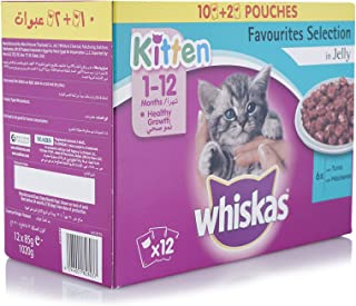 Whiskas Kitten Favourites Selection In Jelly Wet Cat Food Pouch - 12 x 85 gm
