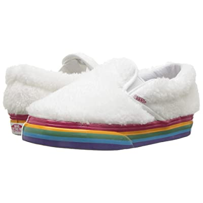 Vans Kids Classic Slip-On (Infant/Toddler) ((Shearling Rainbow) True White) Girls Shoes