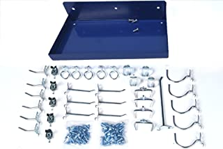 Triton Products 76126-36 DuraHook 12 Inch W x 6 Inch Deep Blue Epoxy Coated Locking Steel Pegboard Shelf with 36 Piece DuraHook Locking Pegboard Hook Assortment