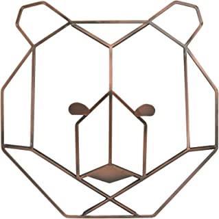 NoJo Mountain Patchwork - Metallic Copper Wire Shaped Bear Head Wall Art, Copper