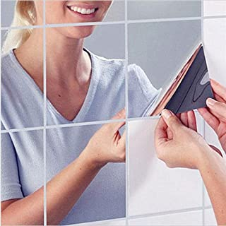 HKTOPONE 9 UNIDS Cuadrados de Azulejo Espejo Pegatinas de