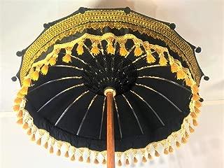 Black & Gold Bali Umbrella- Garden Umbrella, Wedding Umbrella, Hindu Umbrella, Indonesian Umbrella, Festival Umbrella, Pool Umbrella, Party Umbrella, Ornate Umbrella, Custom Umbrella,