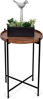 BIRDROCK HOME Folding Side Table with Removable Wood Tray - Black Metal Foldable Nightstand - Indoor Use Only - Bar Coffee...