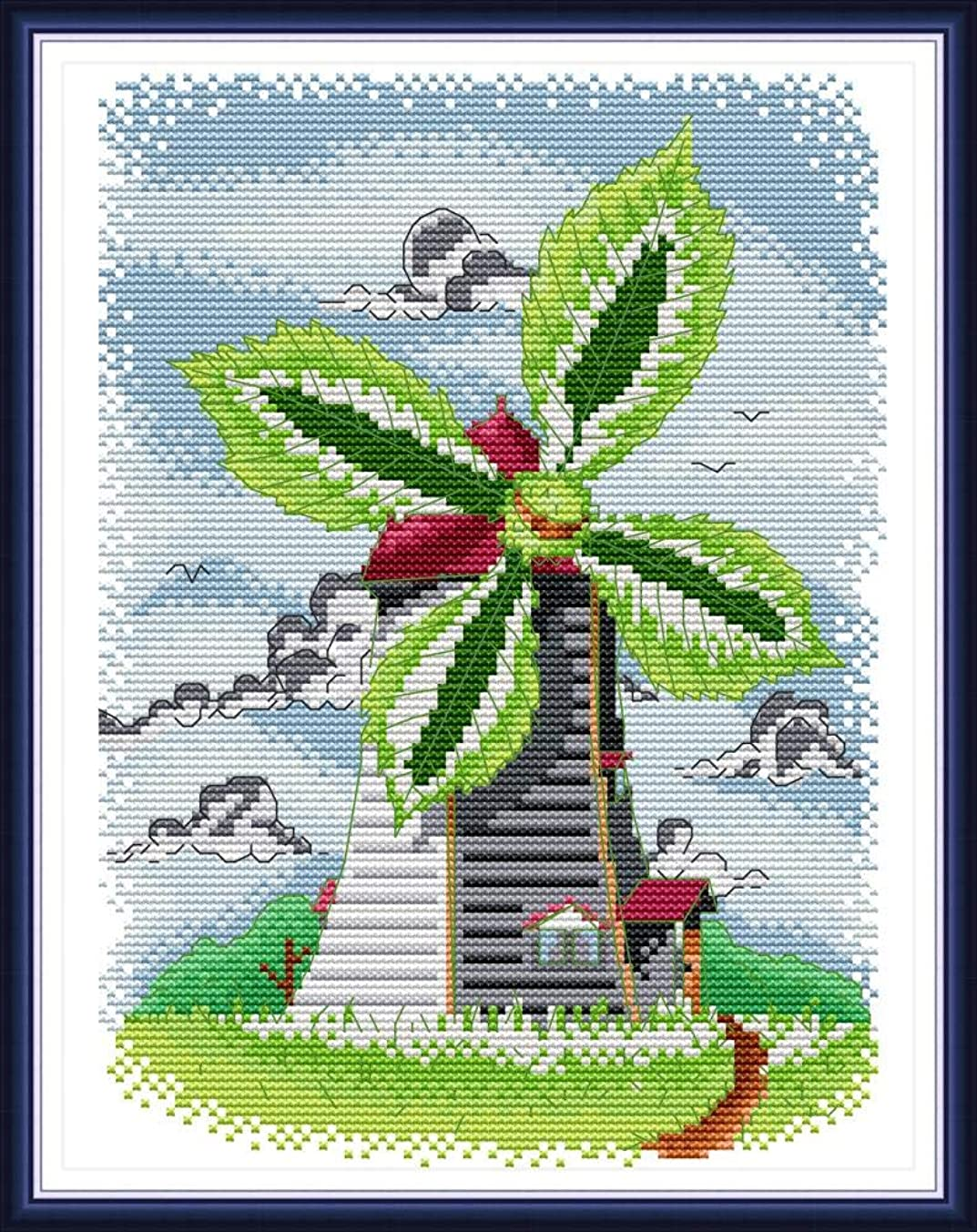 Cross Stitch Stamped Kits Pre-Printed Cross-Stitching Starter Patterns for Beginner Kids or Adults, Summer Windmill Needlepoint Set Embroidery Kits for Home Decor