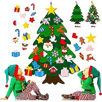 Foho 3D Fieltro Árbol de Navidad, 3.3ft 25 Piezas Arbol de Navidad Fieltro Decoración, Colgante de Pared Niños Adornos Extraíbles para Niños Decoraciones de Navidad Año Nuevo Navidad Regalo