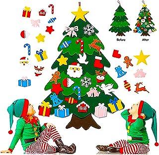 Foho 3D Fieltro Árbol de Navidad, 3.3ft 25 Piezas Arbol de Navidad Fieltro Decoración, Colgante de Pared Niños Adornos Ext...