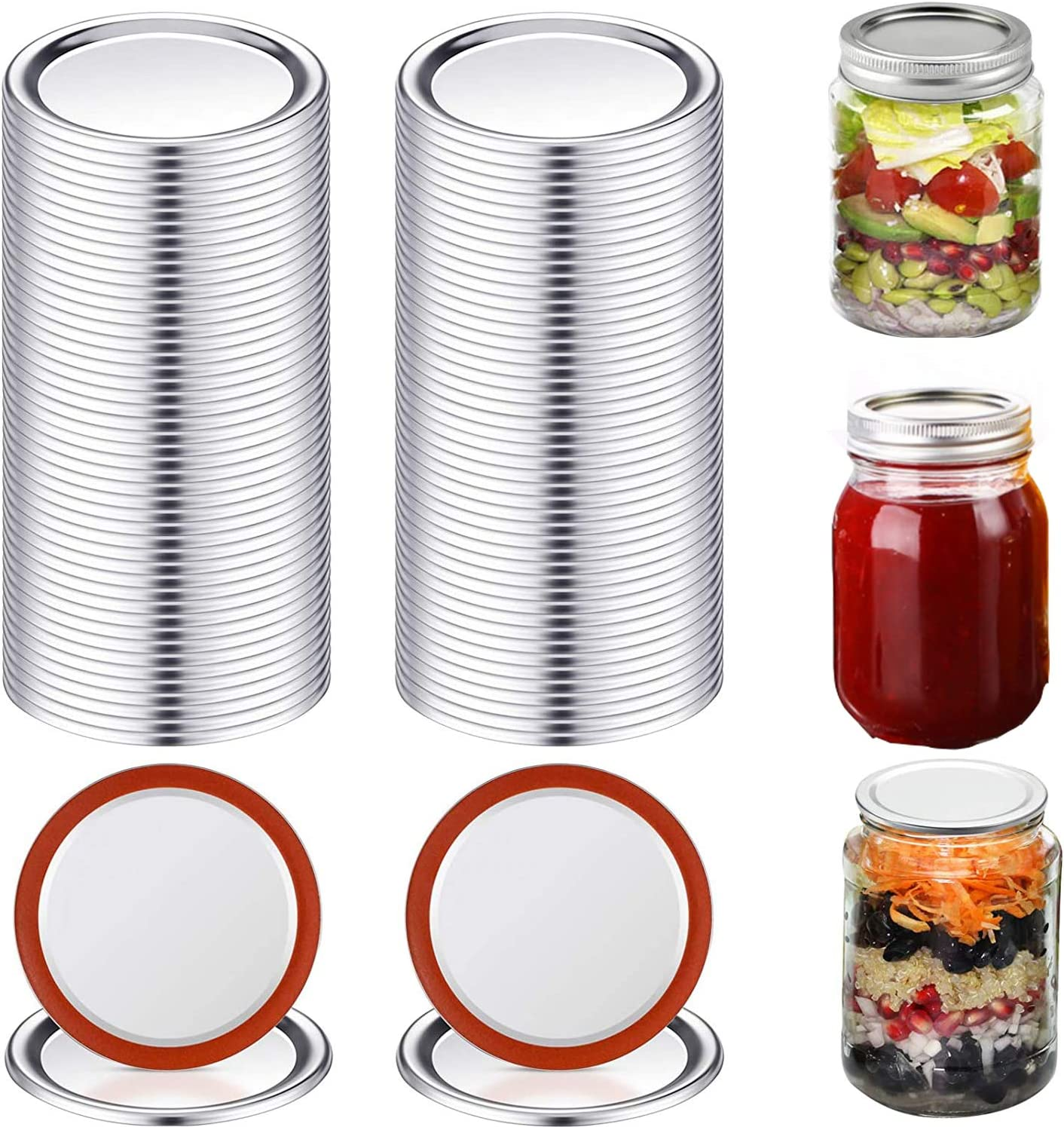 50 Pieces Sale item Canning Max 77% OFF Lids Mouth Mason Regular Stainles