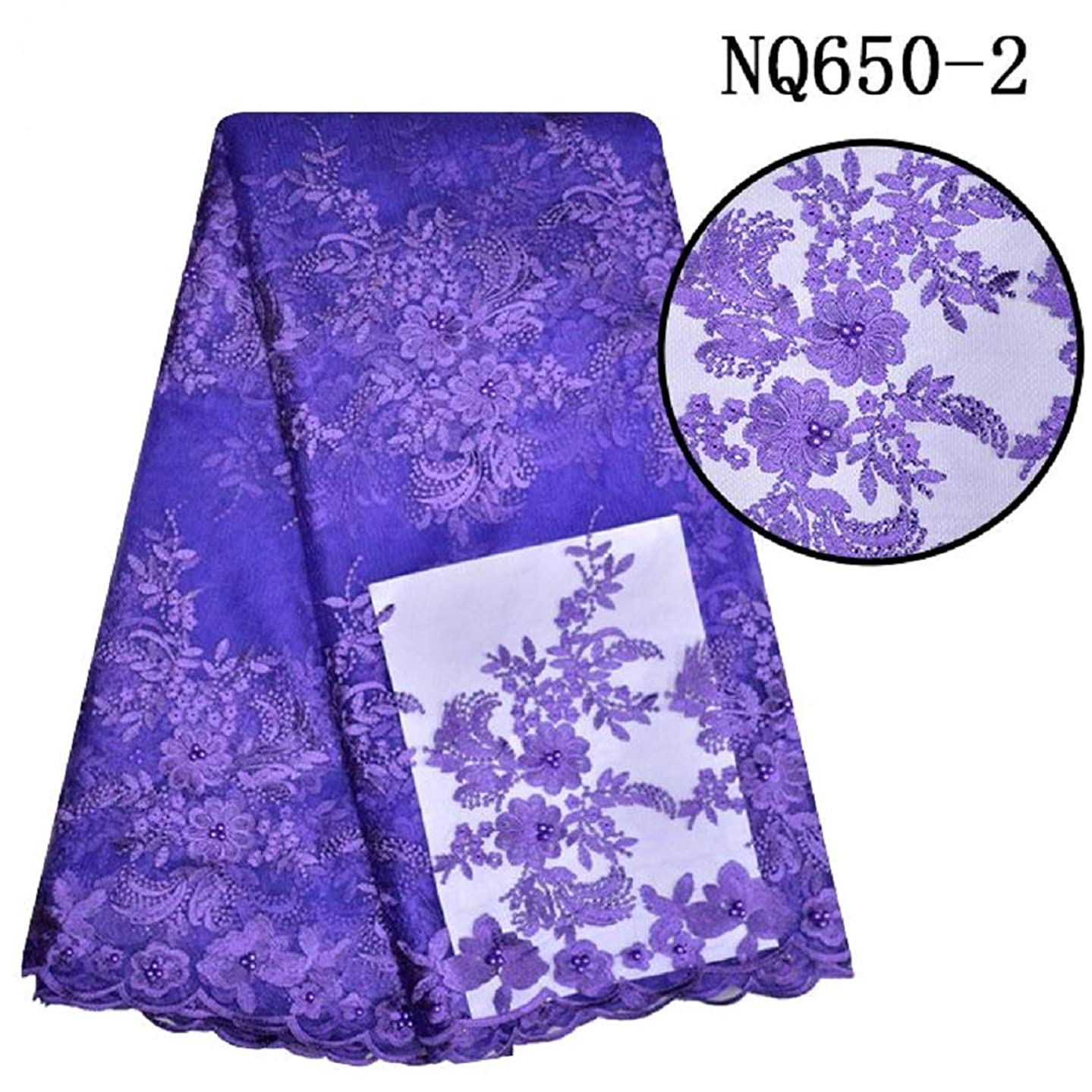 pgooodp African Lace Fabric 5 Yards French Net Nigeria Lace Embroidered Guipure Fabrics 010 (Purple)