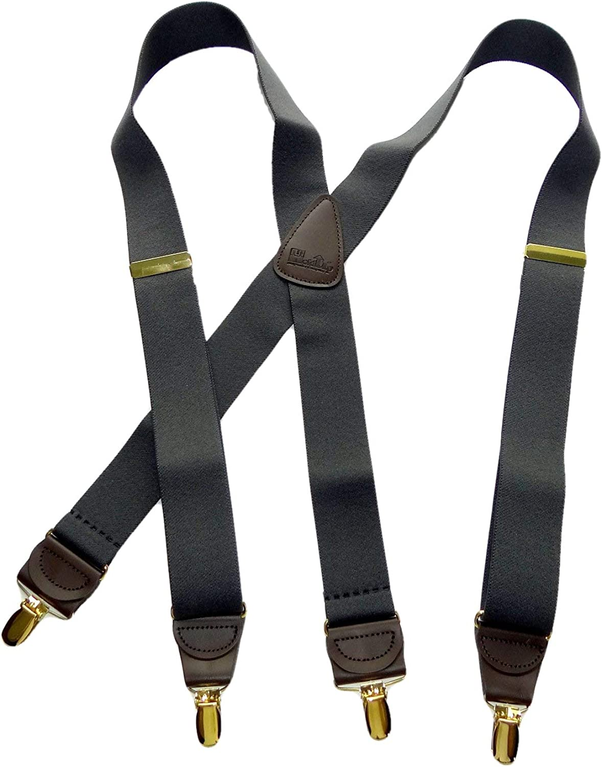 Holdup Brand Dark Slate Gray X-back Suspenders with Patented No-slip Gold-tone Clips