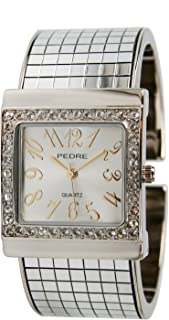 Pedre Women's Silver-Tone Disco Mirror Bangle Watch # 3095SX