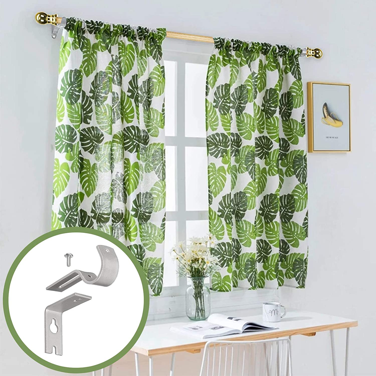 Curtain Rods for windows,Window Single Curtain Rod Set with Finials 30-48 Adjustable Curtain Rod Decorative Window Curtain Rod for Kitchen Bedroom Window Silver