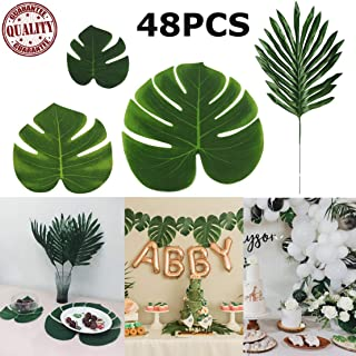 STSTECH Artificial Palm Leaves Monstera Faux Tree Fronds Simulation Leaf for Luau Hawaiian Moana Tropical Themed Party Decoration Birthday Table Gift Decorations,48PCS(4Kinds)