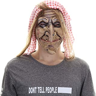 Latex Old Witch Mask with Scarf and Hair Halloween Scary Women's Face Mask Brown