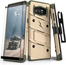 ZIZO Bolt Series Samsung Galaxy Note 8 Case Military Grade Drop Tested with Tempered Glass Screen Protector Holster TAN CAMO Green