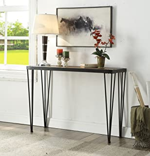 Vintage Brown Black Metal Frame Entryway Console Sofa Table with Nailheads