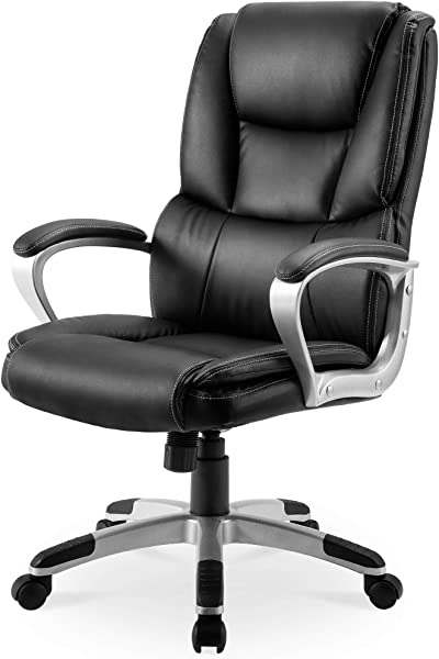 Executive Office Chair 300 LB Heavy Duty JULYFOX PU Leather Gaming Chair High Back Ergonomic Lumbar Support Padded Seat Head Pillow Armrest Tilt Control Bonded Swivel Desk Chair Black