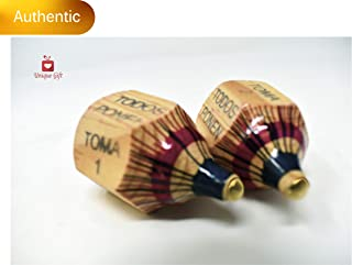 New   Alondra's Imports (TM) Uniquely Designed, Classic Wood Spinning Top Game (Pirinola Toma Todo - Artesania De Madera) Unique Assorted Color at Tip - Premium Quality Finish - Complete Set of 2