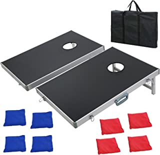 Smartxchoices 3FT X 2FT Aluminum Framed Cornhole Bean Bag Toss Game Corn Hole Boards Set with 8 Bean Bags & Carrying Case, All Weather Funny Game Set for Backyard, Lawn, Party, Outdoor, Indoor(Black)