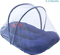 Cutieco Soft and Comfortable New Born Baby Bedding Set with Protective Mosquito Net and Pillow, Dark Blue