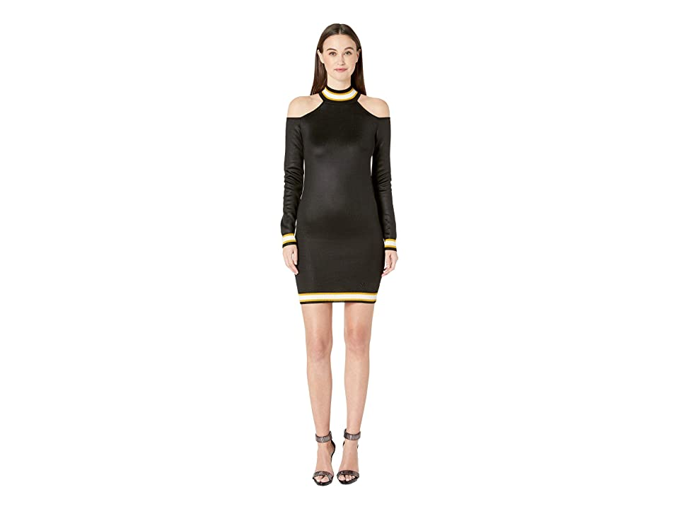 Versace Jeans Couture Cold Shoulder Knit Sweater Dress (Nero) Women