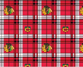 Chicago Blackhawks Plaid Fleece Fabric Design-Sold by The Yard