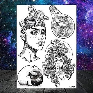 Zwarte armband tribal vossenboom snavel tattoo sticker geometrische tijdelijke tattoo planeet berg driehoek ster tattoo cr...
