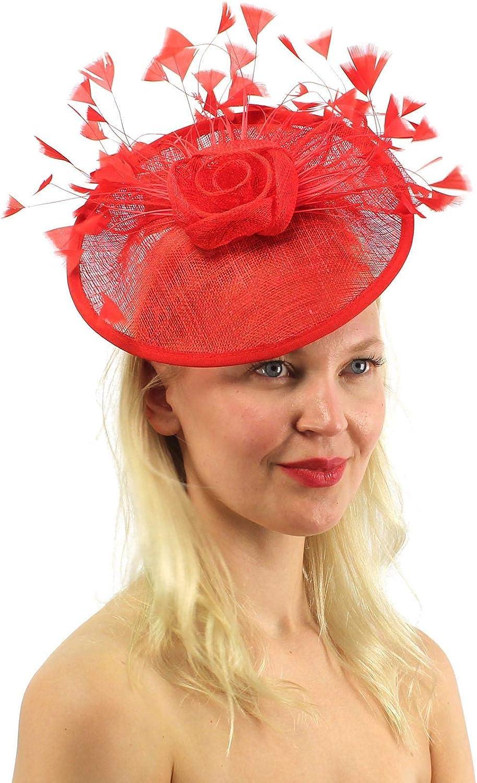 ANGELA & WILLIAM Flamboyant Feathers Sinamay Disc Fascinators Headband Cocktail Derby Hat
