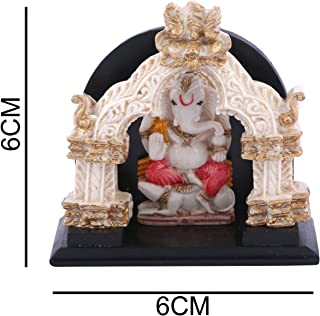 Affaires: Beautiful Ganesha, Ganesh, Ganpati Murti Idol Statue Sculpture with Temple for car/Office Decor, Ideal Gift to Your Loved Ones G-425