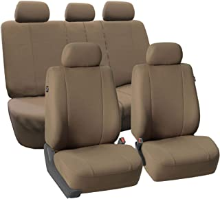 FH Group FB052115 Full Set Multifunctional Flat Cloth Car Seat Covers, Airbag Ready and Split, Taupe Color - Fit Most Car, Truck, SUV, or Van